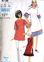 1960s MOD easy To Make Bell Shaped Dress or Tunic Pattern VOGUE 6726 Three Versions Bust 32 Vintage Sewing Pattern