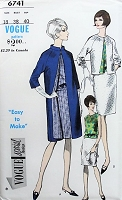 1960s CLASSIC Skirt, Blouse, and Coat Vogue 6741 Bust 38 Vintage Sewing Pattern