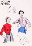 1940s CLASSIC Blouse Pattern VOGUE 6837 Day Shirt Blouses Pullover Kimono Sleeves Sporty Blouse Bust 30 Vintage Sewing Pattern
