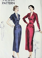 1940s Beautiful Day or Cocktail Party Dress Pattern VOGUE 6839 easy To Make V Neckline Dress  Bust 32 Vintage Forties Sewing Pattern