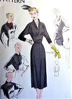 FAB 1950s Dress With Detachable Tunic and Dickey Pattern VOGUE 6889 Five Styles Bust 34 Vintage Sewing Pattern