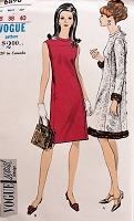 1960s ELEGANT A-line Coat Dress Vogue 6896 Bust 38 Vintage Sewing Pattern