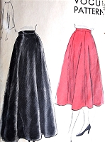 1950s LOVELY Easy To Make 6 Gored Flared Skirt Pattern VOGUE 7172 Evening or Day Lengths Figure Flattering Waist 30 Vintage Sewing Pattern