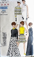 1960s MOD Day to Evening Coordinates Pattern VOGUE Special Design 7176  Slim Straight Dress or Gown, Culottes, Blouse and Jacket Bust 34 Vintage Sewing Pattern UNCUT