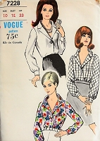 1960s STYLISH Blouse Vogue 7228 Bust 31 Vintage Sewing Pattern