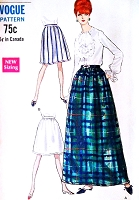 1960s CLASSIC Dirndl Skirt Pattern VOGUE 7259 Regular or Maxi Evening Length Vintage Sewing Pattern UNCUT