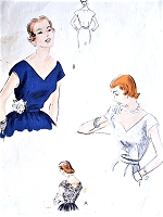 1950s GLAMOROUS V Neckline Evening Blouse tuck In Fitted Blouse V Back Bust 32 Easy to Make Blouses Bodice Tops Vintage Sewing Pattern