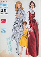 1960s RETRO Mod Dress or Jumper in Three Styles Vogue 7408 Vintage Sewing Pattern Bust 36