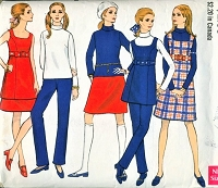70s CUTE Coordinates Pattern VOGUE 7409 Jumper or Tunic, Blouse, Pants and Skirt Great Wardrobe Builder Size 10 Vintage Sewing Pattern UNCUT