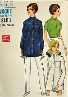 1960s MOD Blouse in Three Styles Vogue 7452 Bust 34 Vintage Sewing Pattern