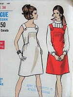 1960s MOD Dress or Jumper Vogue 7480 Bust 34 Retro Sewing Pattern