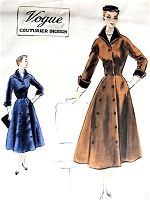 1950s CLASSY Coat or Dress Pattern VOGUE Couturier Design 755 Figure Flattery Style Graduated Double Breasted Closing Bust 32 Vintage Sewing Pattern FACTORY FOLDED