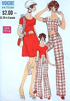1960s Ultra MOD Peek a Boo Dress and Jumpsuit Pattern VOGUE 7601 Top, Skirt and Pants Size 8 Vintage Sewing Pattern UNCUT