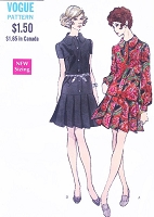 MOD 60s Dress Pattern VOGUE 7663 Flirty Drop Waist Button Front Dress Pleated Skirt Bust 34 Vintage Sewing Pattern