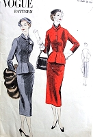 1950s EASY To Make Slim SUIT Pattern VOGUE 7777 Fitted Jacket with Nip In Waist Slim Skirt Bust 32 Vintage Sewing Pattern