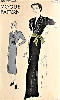 1930s RARE Elegant Dress Vogue 7803 Bust 38 Vintage Sewing Pattern