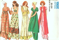 1970s BOHO Baby Doll Pajamas, Robe, Pants and Night Gown Lingerie Pattern VOGUE 7905 Lounge Wear SleepWear Bust 32 Vintage Sewing Pattern