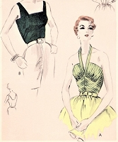 1950s GLAM Evening  or Day Bodices Pattern VOGUE 8019 Two Sizzling Hot Tops Easy To Make Styles Bust 36 Vintage Sewing Pattern