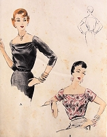 1950s CLASSY Blouse with Wide Neckline Vogue 8183 Bust 30 Vintage Sewing Pattern