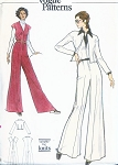 1970s FAB Wide Leg  JUMPSUIT and Fitted Jacket Pattern Very Easy VOGUE 8428 Bust 36 Vintage Sewing Pattern
