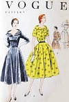 1950s STUNNING Cocktail Party Evening Dress Pattern VOGUE 8485 Beautiful Flattering Collar  Bust 32 Vintage Sewing Pattern
