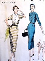1950s CUTE Slim Day Dress Pattern VOGUE 8499 Bust 38 Vintage Sewing Pattern