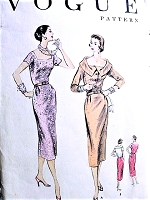 1950s ELEGANT Slim Cocktail Party Evening Dress Pattern VOGUE 8554 Two Lovely Necklines Bust 36 Vintage Sewing Pattern
