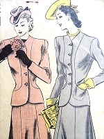 1940s SNAPPY Easy To Make Suit Pattern VOGUE 8627 Fitted Jacket and Seven Gored Skirt Bust 38 Vintage Sewing Pattern