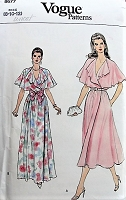 1980s EFFORTLESS Wrap Dress Evening or Day Vogue 8677 Retro Sewing Pattern