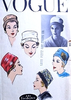 1950s FABULOUS Cloche Hat Pattern VOGUE 9007  Original John Frederics Design Head Size 22 Vintage Sewing Pattern FACTORY FOLDED