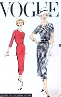 1950s CLASSY Slim Dress Pattern VOGUE 9137 Day or After 5 Dress Bust 38 Vintage Sewing Pattern