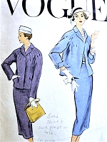 1950s BEAUTIFUL Suit Pattern VOGUE 9230 Box Jacket With Radiating Tucks Slim Skirt Bust 36 Vintage Sewing Pattern
