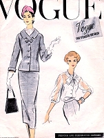 1950s CLASSY 3 pc Suit Pattern VOGUE COUTURIER Design 948 Sleek Slim Skirt Suit Beautiful Tied Scarf Collar Blouse Bust 36 Vintage Sewing Pattern FACTORY FOLDED