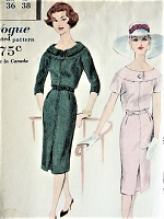 1950s STYLISH Slim Day or After 5 Dress Pattern VOGUE 9734 Easy Elegance Bust 36 Vintage Sewing Pattern FACTORY FOLDED