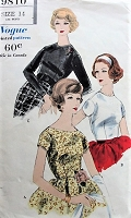 1950s FLATTERING Fitted Blouse in Two Styles Vogue 9810 Bust 34 Vintage Sewing Pattern