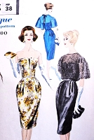 50s GLAMOROUS Evening Cocktail Dress Pattern VOGUE 9824 Strapless Barrel Skirt Party Dress Overblouse B 36 Vintage Sewing Pattern UNCUT