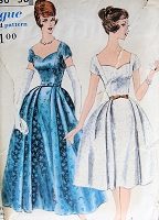 1950s CHARMING Dress in Two Lengths Vogue 9868 Vintage Sewing Pattern Bust 36