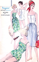 1960s BeachWear Pattern VOGUE 9995 One Pc Bathing Suit SwimSuit and Skirt  Bust 34 Resort wear Vintage Sewing Pattern