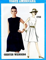 1960s MOD Blouson Bodice Dress Pattern VOGUE Americana 1783 Weinberg Design Day or After 5 Dress Bust 32 Vintage Sewing Pattern