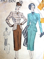 1940s CHIC Suit Pattern VOGUE 5945 Eye Catching Style Cutaway Front Jacket Slim Skirt Bust 36 Vintage Sewing Pattern