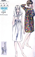1960s FAB BoHo Beach Dress Cover Up Pattern VOGUE 6241 Empire Waist Dress 2 Styles Includes Hood Version Bust 32 Sixties Vintage Sewing Pattern UNCUT
