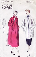 1950s BEAUTIFUL Swing Back Coat or Jacket Pattern VOGUE 7052 Bust 34 or 36 Two Lovely Styles Vintage Sewing Pattern FACTORY FOLDED