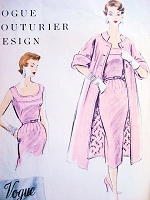 1950s Lovely Slim Dress and Coat Pattern Vogue Couturier Design 797 Daytime or Cocktail Party Dress Bust 32 Vintage Sewing Pattern