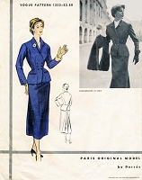 1950s RARE Desses Suit Pattern VOGUE Paris Original Model 1232 Couture Fitted Jacket Slim Skirt Godet Bk Vintage Sewing Pattern + Label FF