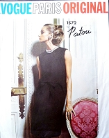 1960s PATOU Cocktail Evening or Day Dress Pattern VOGUE PARIS Original 1572 Lovely Back Button Dress  Bust 34 Vintage Sixties Couture Sewing Pattern UNCUT + Label