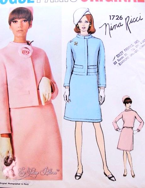 1960s Nina Ricci Suit and Blouse Pattern VOGUE PARIS ORIGINAL 1726 ...