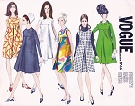 MOD 60s Baby Doll Dress Pattern VOGUE Basic Design 1766 Front Inverted Pleat Day To Evening All Seasons Dress Bust 32 Vintage Sewing Pattern