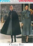 1970s STUNNING Cape Coat and Midi Dress DIOR Pattern Vogue Paris Original 2534 Bust 34 Vintage Sewing Pattern