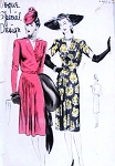 1940s FILM NOIR Style Cocktail Dinner Party Dress Pattern VOGUE SPECIAL DESIGN 4454 Bust 36 Vintage Sewing Pattern
