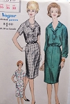 1960s Slim Dress Pattern VOGUE 5379 Nice Style Details French Cuffs Version Bust 36 Vintage Sewing Pattern FACTORY FOLDED